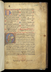 Historiated initial With St. Gregory Writing, And Ownership Inscription, In Gregory The Great's 'Dialogues'